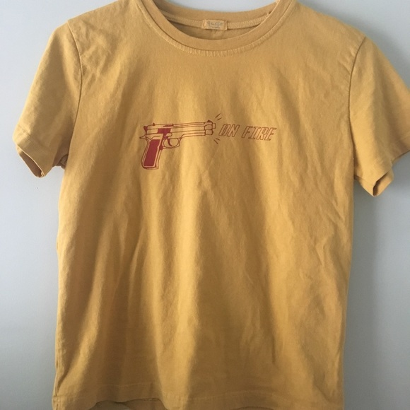 7728c457fb43b Brandy Melville On Fire Yellow Graphic Tee (NWOT)